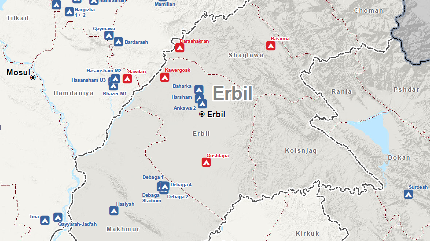 The location of the four Syrian refugee camps within Erbil Governorate in red.