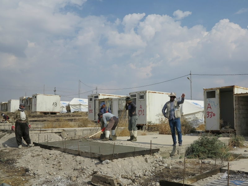 PWJ is working on emergency tent preparations. In Bardarash Camp, concrete base expansions are needed.