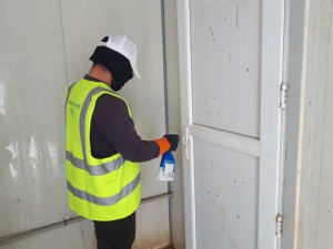 WASH service workers hired by PWJ added disinfection of door knobs and faucets to their daily cleaning routine.
