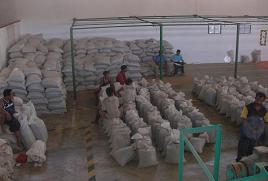 集荷され出荷を待つコーヒー豆