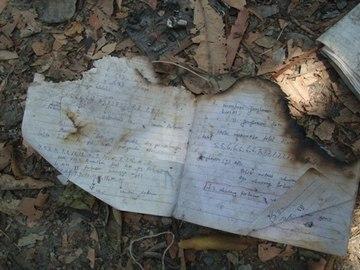 放火により焼けてしまったノート