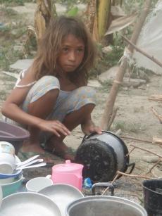 カノッサ・ハス・ララン避難民キャンプの子ども