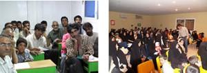 写真左:熱心な参加者たち(2005年7月) 写真右:女性も多く参加したセミナー(2005年11月) (C)Peace Winds Japan