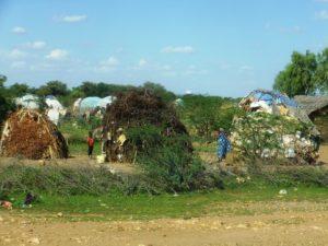 キャンプ周辺には枝をくみ上げ布を被せた住居が並ぶ