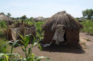 現在の簡素なトイレ(右側)と水浴び場(左側)。息子家族と共有している。