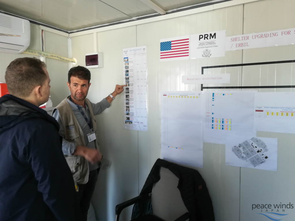 建設スケジュールを説明するシニア・エンジニアのジャシーム(左から2人目)